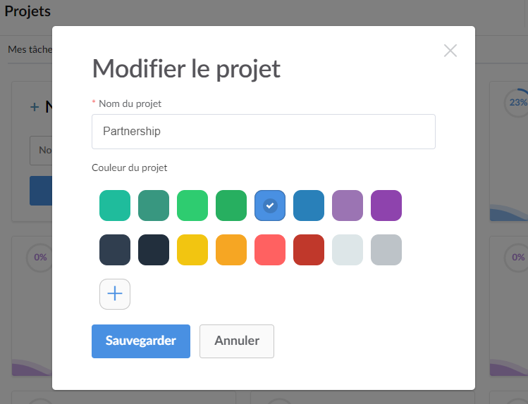 Change the color of a project