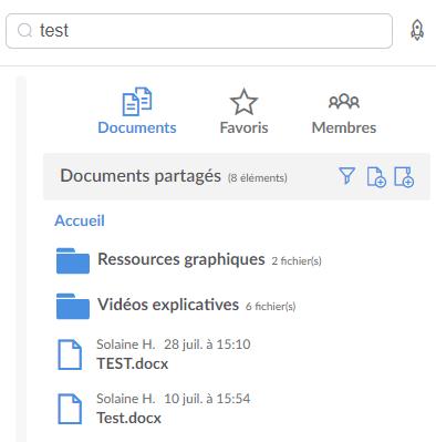 Rechercher dans les documents partagés
