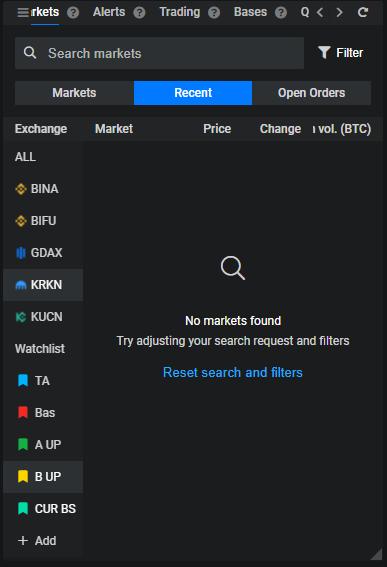 Combination of Recent+KRKN (exchange)+B UP (watchlist) = no results