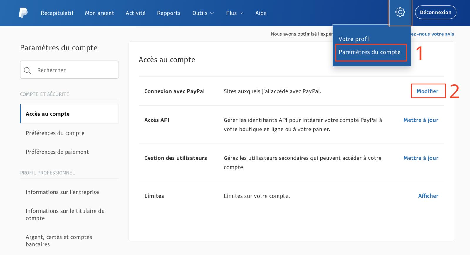 Paramètre PayPal