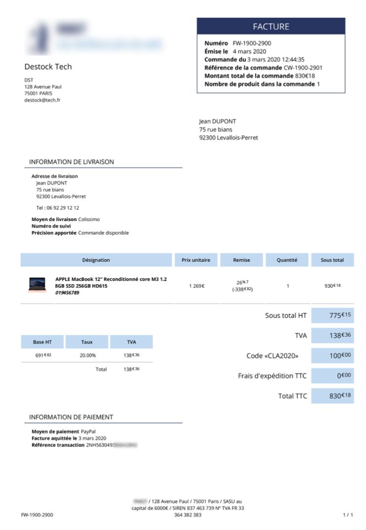Voici à quoi ressemble une facture automatiquement générée