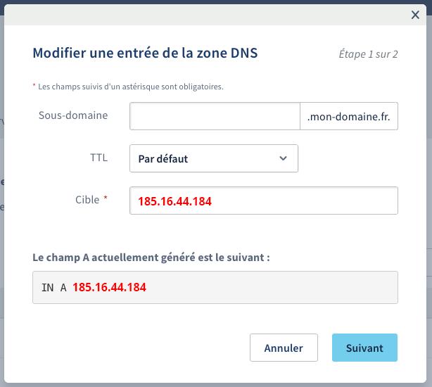 Modification de l'IP
