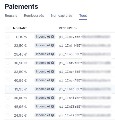 Liste de paiements incomplets dans l'interface Stripe