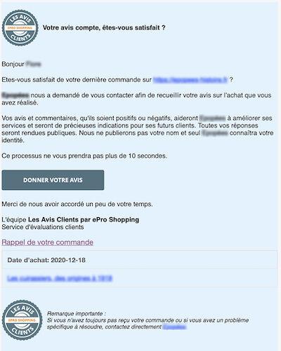 Exemple d'email d'avis client
