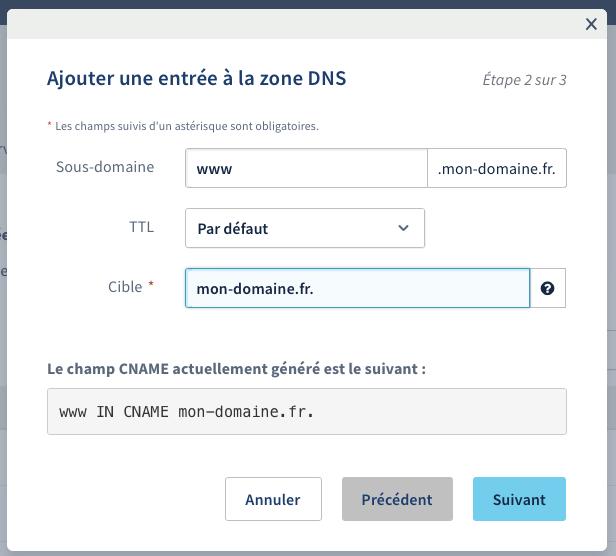 Configuration du CNAME