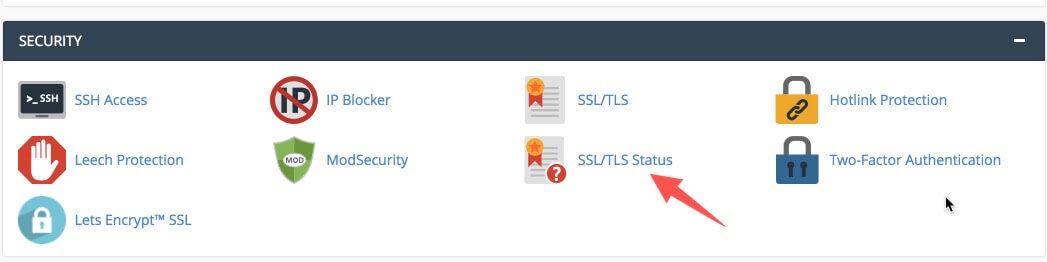 Truy cập vào mục SSL/TLS Status trên cPanel