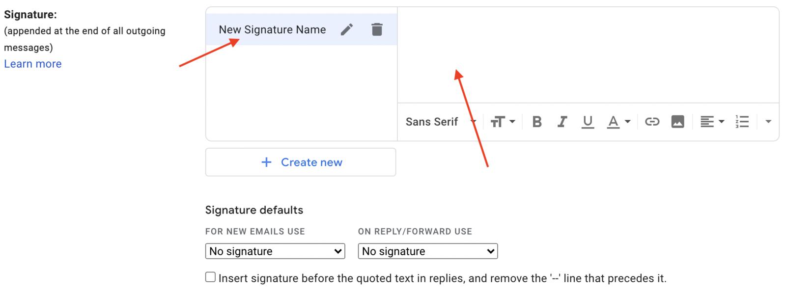 Insert copied signature into right column