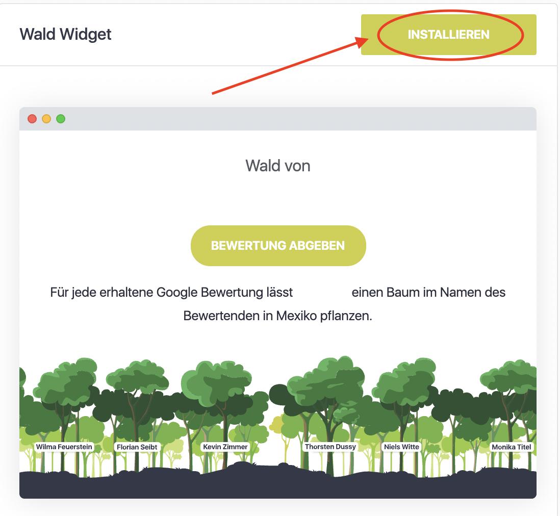 Installiere Wald Widget