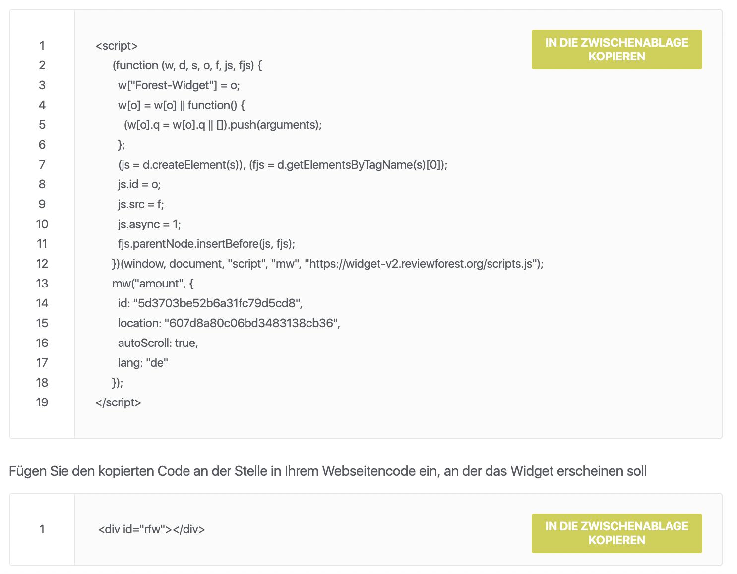 Kopiere HTML Code