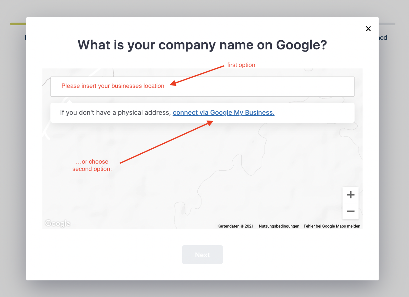 Two options for signup via Google