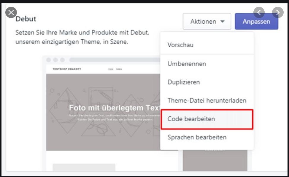 Shopify Aktionen/Code bearbeiten