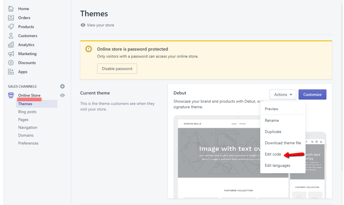 Shopify/Online Store/Actions/Edit code