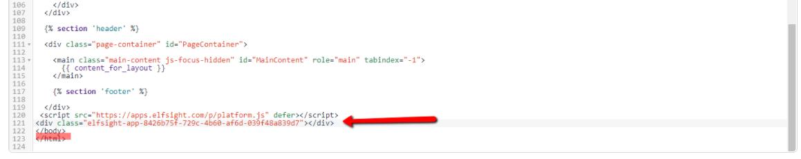 Inserting the HTML code