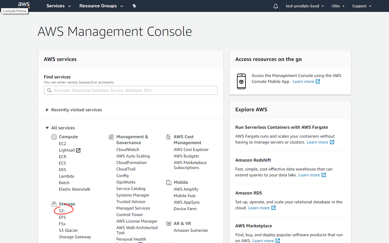 1. Click the S3 service form the AWS console home page