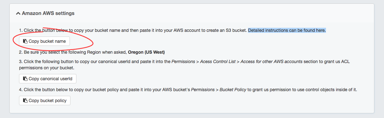 4. Copy the bucket name inside the Amazon AWS settings of the Proofpix admin