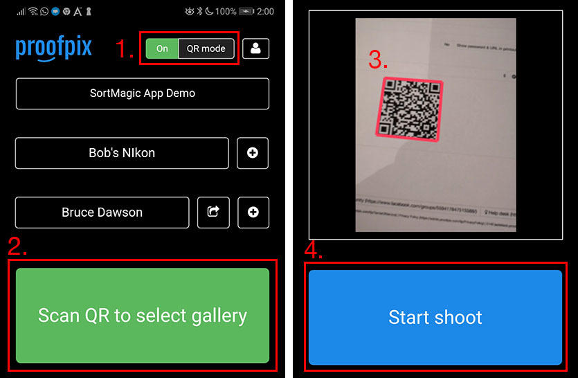 Using QR codes to select galleries