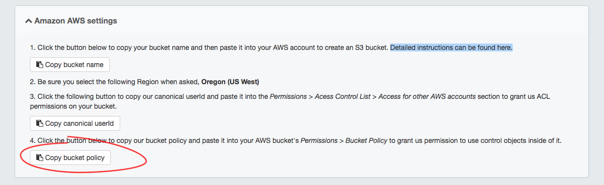 14. Copy the Bucket policy button in the Proofpix admin