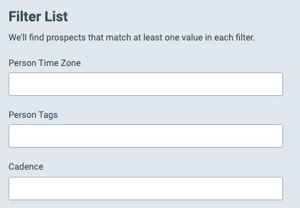 Salesloft Filter Options