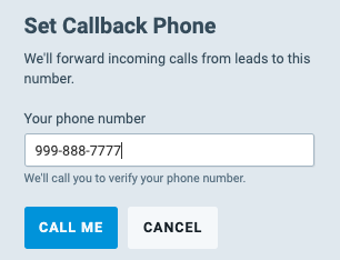 "Enter Phone Number then hit ""Call Me"""