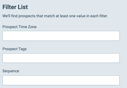 Outreach Filter Options