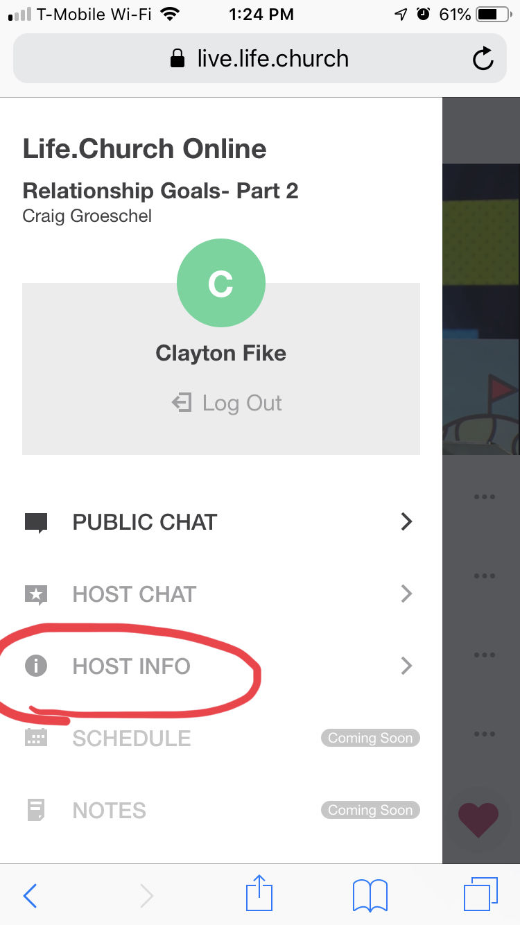 Host Info in the nav menu