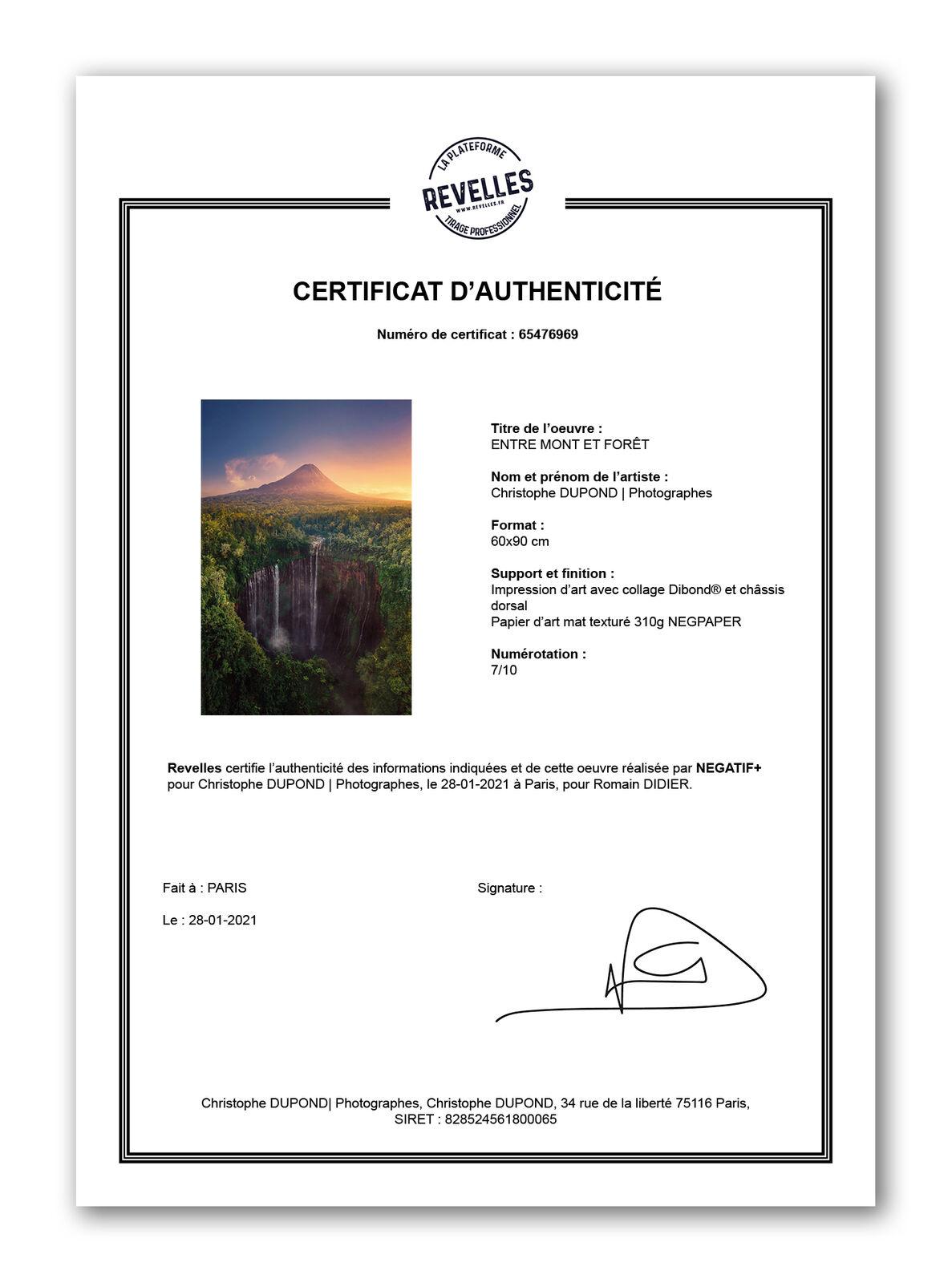 Exemple de certificat d'authenticité Revelles