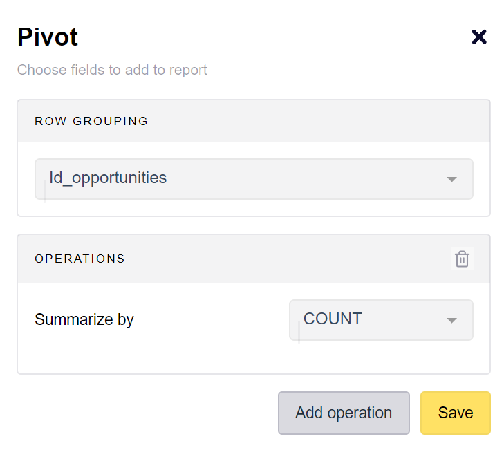 Pivot to count the number of subtasks per opportunity id