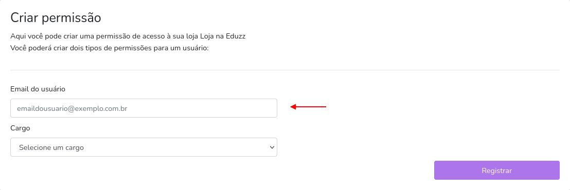 E-mail do usuário