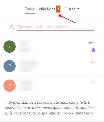 Filtro de mensagens não lidas
