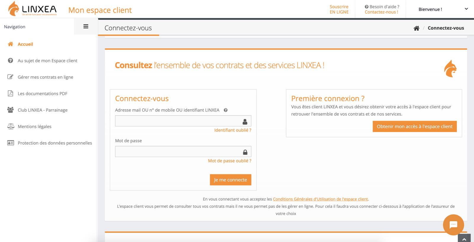 Espace client Linxea
