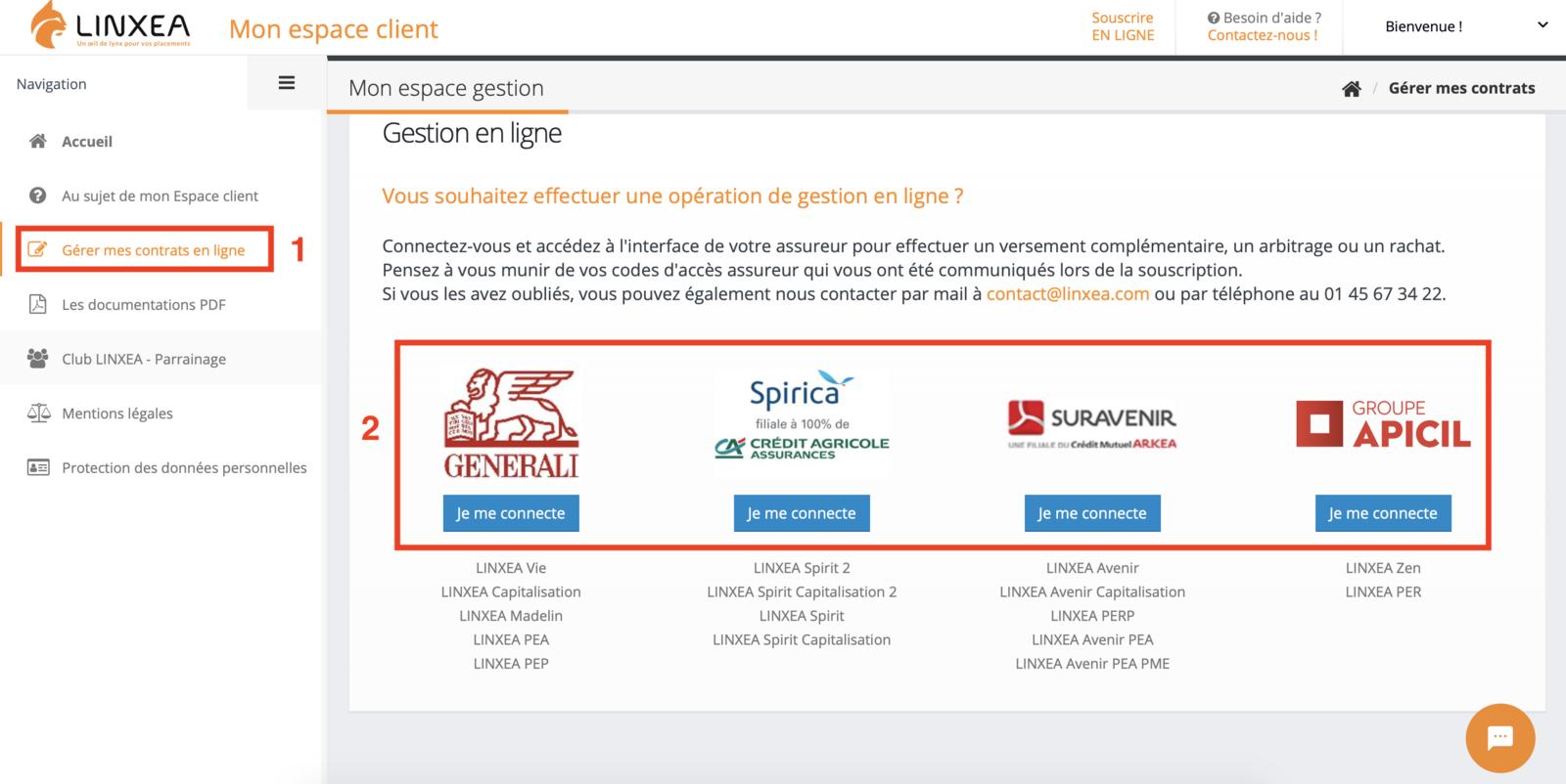 Selection du contrat sur Linxea