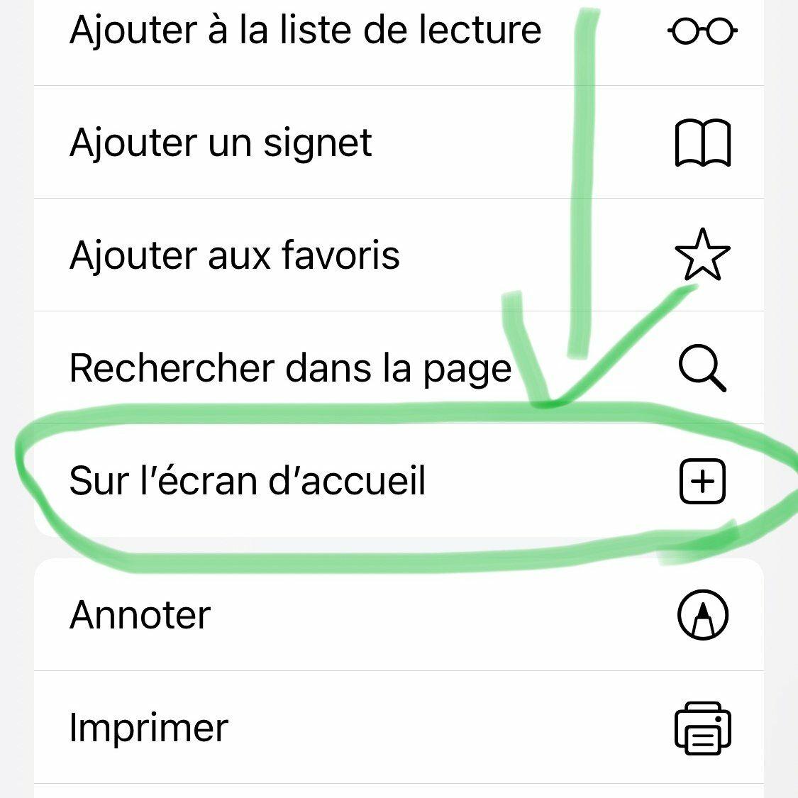 """Sélectionnez """"Sur l'écran d'accueil"""" dans les paramètres Safari"""