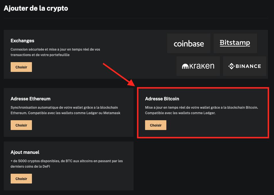Ajout d'adresse Bitcoin