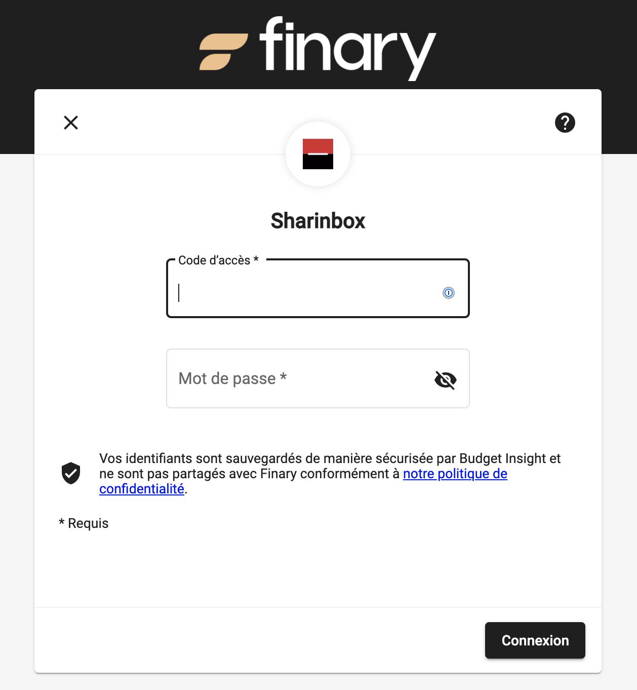 Formulaire de connection de Sharinbox