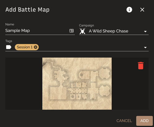 Add Battle Map dialog