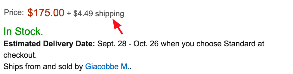 Item shows $175.00, but additional $4.49 is needed for shipping. We do our best to communicate this charge to you on Purse, but sometimes there are minor differences.