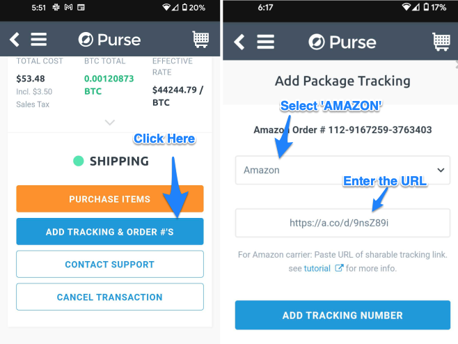 Adding the Tracking URL to purse