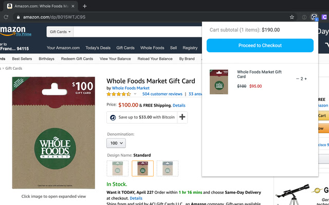 Manage your shopping cart by clicking the extension button
