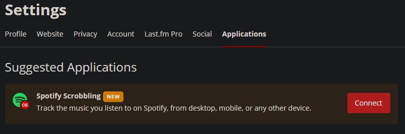 Last.FM settings page