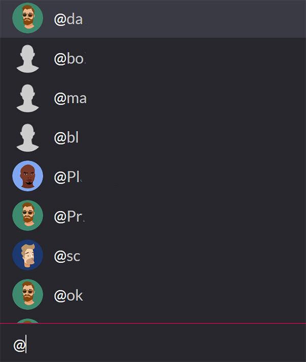 Когда вы нажмете @, вы получите много имен для ответа—начните вводить имя пользователя, чтобы ответить именно ему!