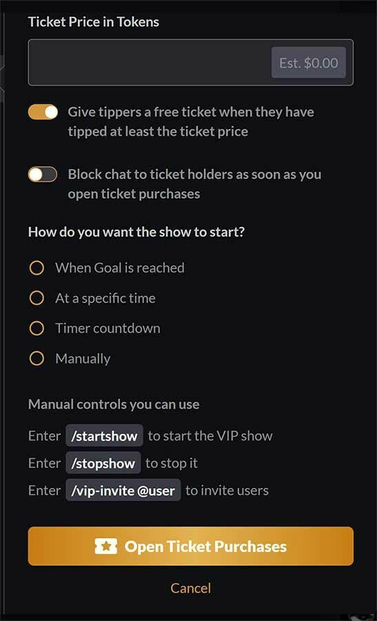 Aquí puedes acceder a las configuraciones de tus tickets VIP.