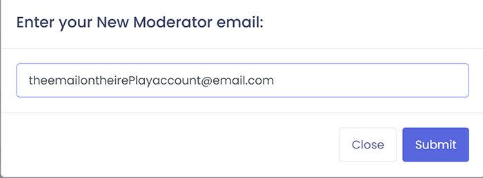 Введите адрес электронной почты, прикрепленный к учетной записи предполагаемого модератора.