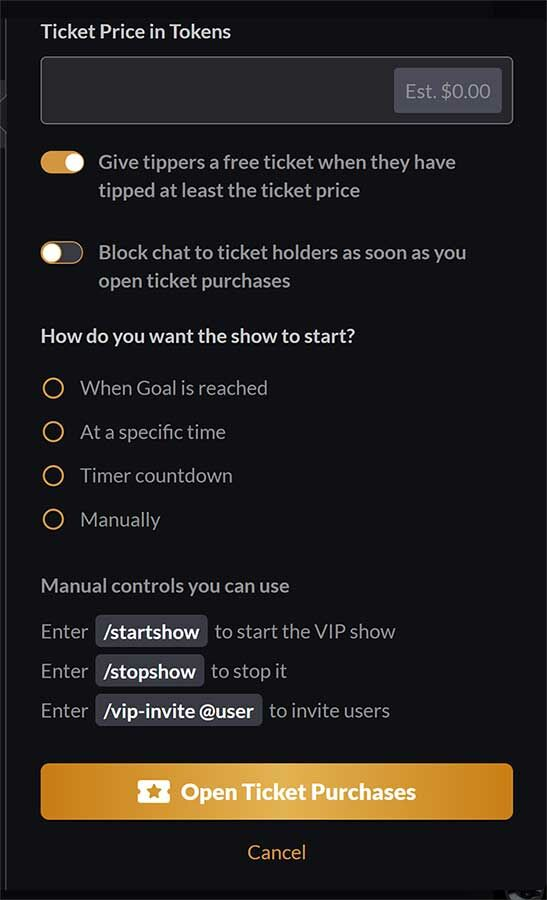5. All of your VIP show settings!