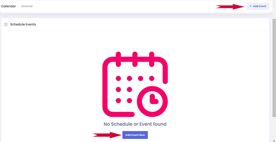 Add an event - this is what the screen looks like before you have any events!