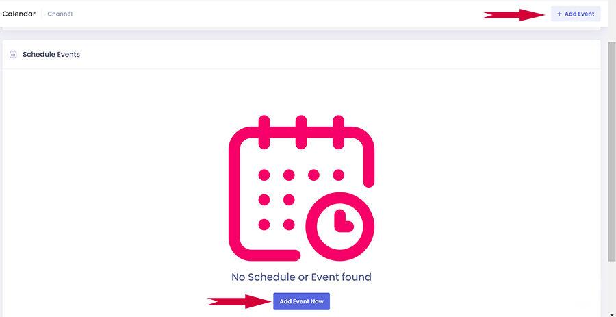 Adăugați un eveniment - așa arată ecranul înainte de a avea evenimente!