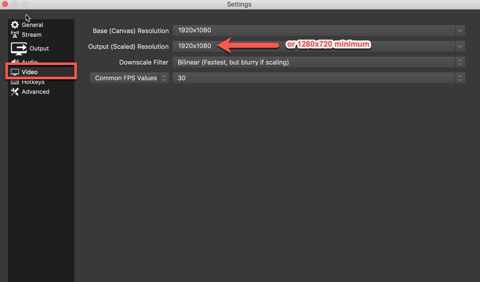 nuestra configuración de video recomendada