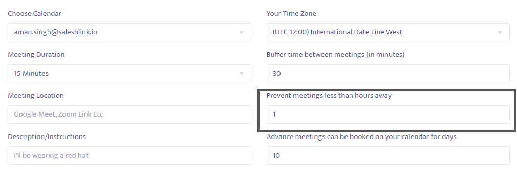 Change the time of immediate meetings