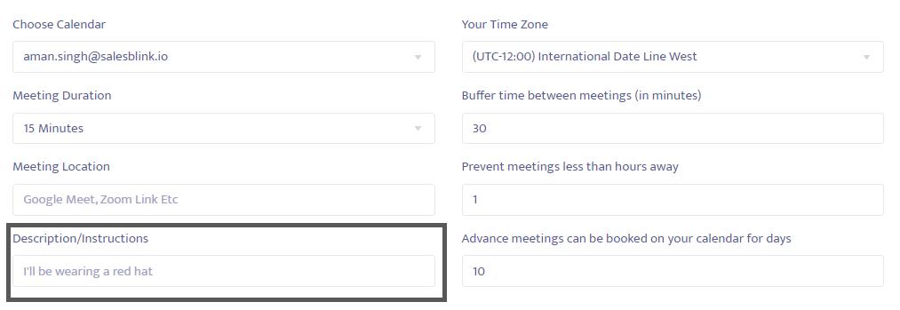 Change the meeting description