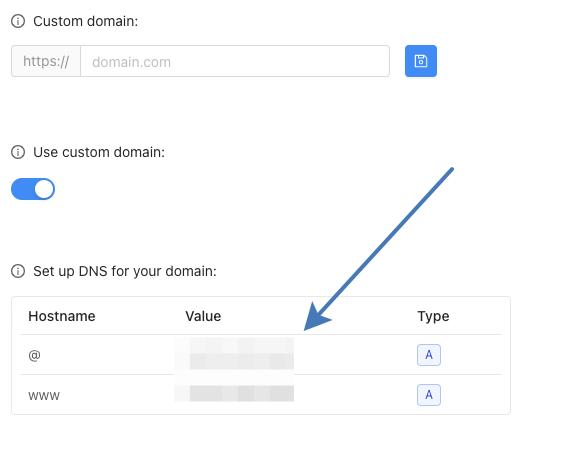 DNS records values