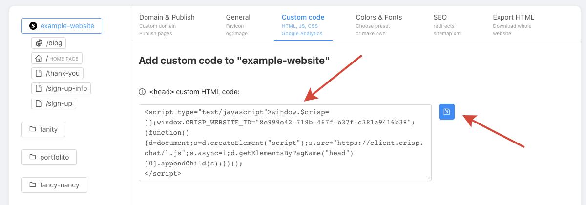 Website settings, Custom code